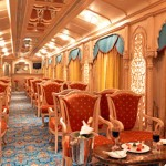 luxury journey on board the Golden Chariot, an Indian luxury train.
