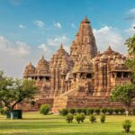 Famous indian Madhya Pradesh tourist landmark - Kandariya Mahadev Temple, Khajuraho, India. Unesco World Heritage Site