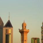 United Arab Emirates, Dubai, Mosque and Emirates Towers