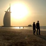 610-01598854Model Release: NoProperty Release: NoUnited Arab Emirates, Dubai, beach and Burj Al Arab Hotel at sunset