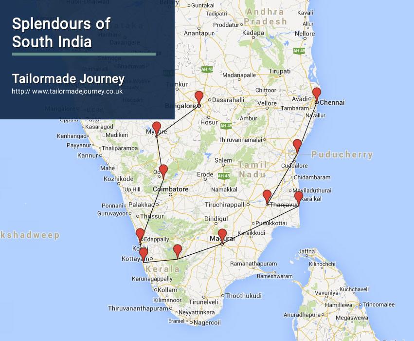 south india splendour tour map